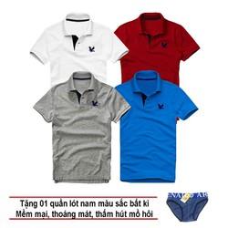 Áo thun nam logo mẫu mới Combo 4 áo Trắng Đỏ đô Xám đậm Xanh dương tặng kèm 1 quần lót nam XSAK
