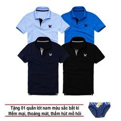 Áo thun nam logo mẫu mới Combo 4 áo Xanh môn Xanh dương Xanh đen Đen tặng kèm 1 quần lót nam XSAK