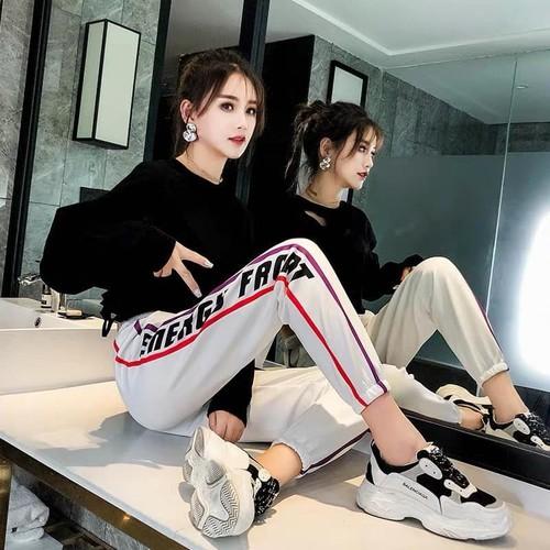 Quần nỉ jogger sọc phối chữ phong cách thể thao thời trang e017 - 40272