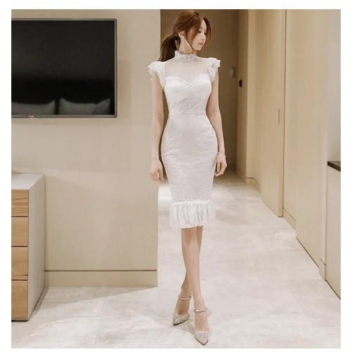 Đầm body ren trắng