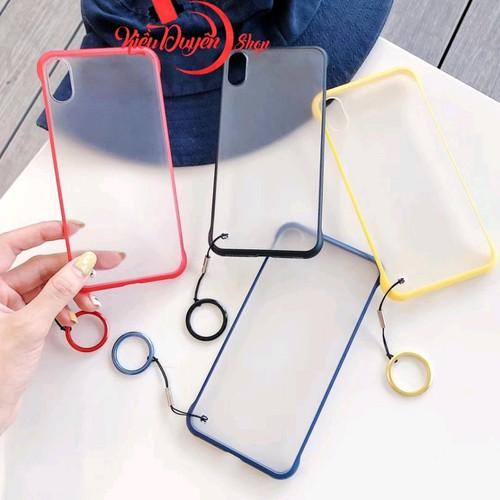 Ốp lưng nhám mờ viền màu iphone 6,6s,6 plus,6s plus,6s plus,7,8,7 plus,8 plus,x,xs,xr,xs max kèm dây