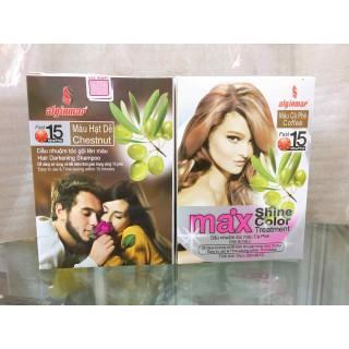 Combo 2 hộp nhuộm tóc màu phủ bạc Max shine color 20 gói - nhuộm phủ bạc màu thumbnail