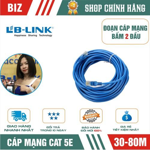 Đoạn dây mạng cat5 bấm 2 đầu lb-link 30,40,60,80m xanh,cam - chính hãng