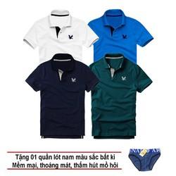 Áo thun nam logo mẫu mới Combo 4 áo Trắng Xanh dương Xanh đen Xanh cổ vịt tặng kèm 1 quần lót nam XSAK