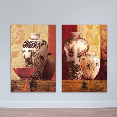 Bộ 2 tranh trang trí phòng khách | Tranh bình gốm nghệ thuật W1688