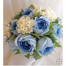Giấy nhún Ý cao cấp màu XANH BIỂN làm hoa giấy nhún