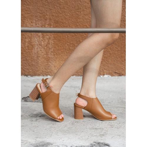 The luxor - giày cao gót đế vuông 8cm da non màu nâu