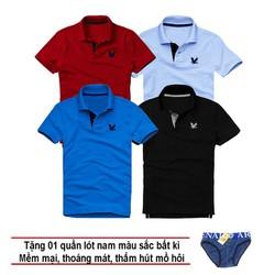 Áo thun nam logo mẫu mới Combo 4 áo Đỏ đô Xanh môn Xanh dương Đen tặng kèm 1 quần lót nam XSAK