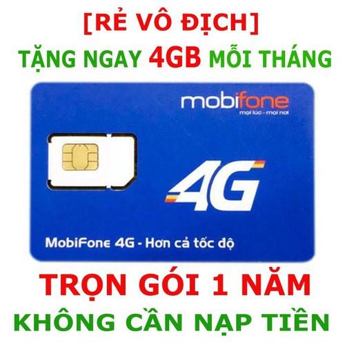 Rẻ VÔ ĐỊCH-SIM MOBI 1 NĂM-TẶNG NGAY 4GB Tốc độ cao mỗi tháng - SIM 4G MOBI TRUY CẬP INTERNET