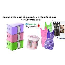 Combo gồm 3 túi đựng đồ và  1 túi giặt đồ lót 1 túi treo trang sức