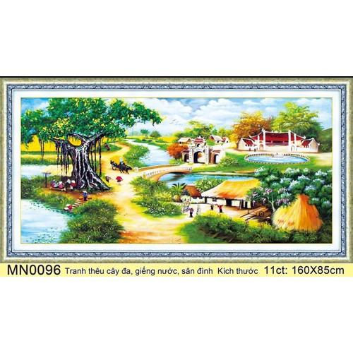 tranh thêu chữ thập phong cảnh cây đa giếng nước sân đình mn0096 kt 160x85cm