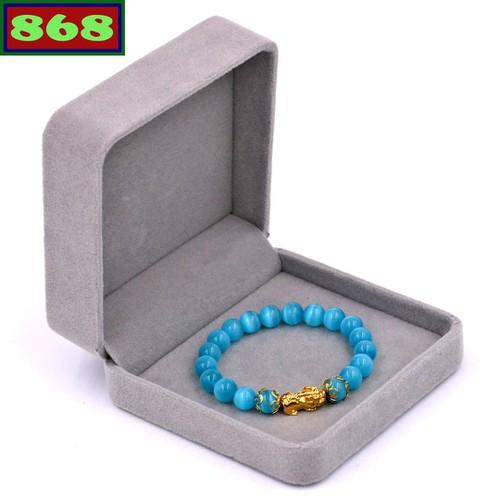 Vòng tay đá mắt mèo xanh biển 8 ly tỳ hưu inox vàng vmexbthhkv8 hộp nhung
