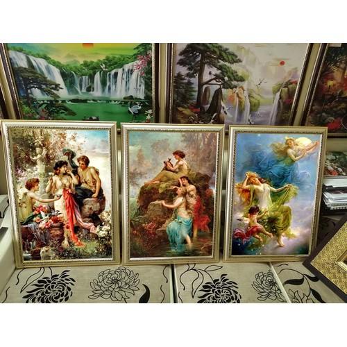 Bộ tranh Châu âu cổ điển CÁC THIÊN THẦN 3 bức khung hoa văn hoàn thiện, chất liệu vải lụa A200723 - trang trí nhà cửa - tranh đẹp. TRANH NHÀ ĐẸP ASICOM