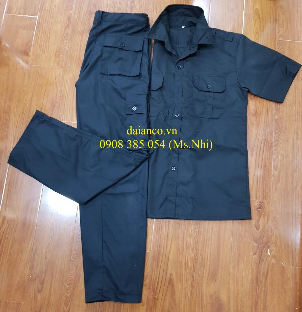 Giảm giá đồng phục vệ sỹ- bảo vệ màu đen, vải thoáng mát, kiểu dáng sang trọng- Hình thật, có sẵn