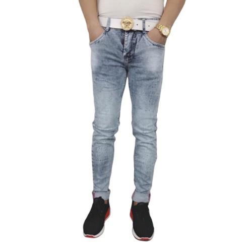 Quần jean nam xước xanh trắng cao cấp - xưởng áo hạnh phúc