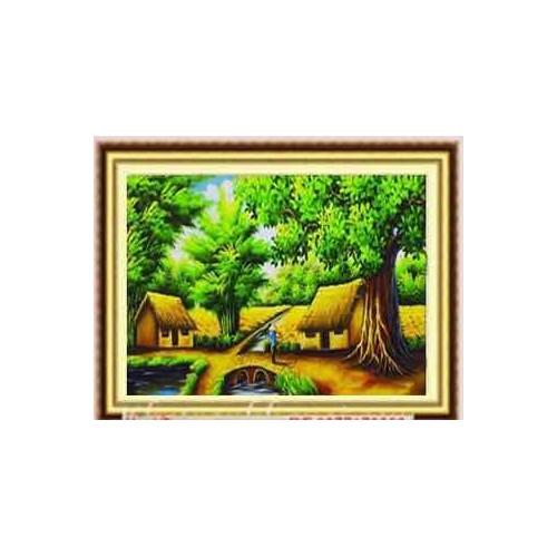 tranh đính đá phong cảnh Làng quê thanh bình kt 100x55cm