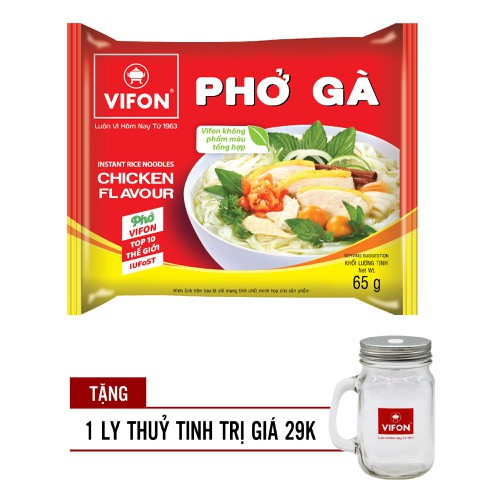 Thùng 30 Gói Phở Gà Vifon 65g - 1 Gói TĂNG KÈM LY THUỶ TINH XINH XẮN