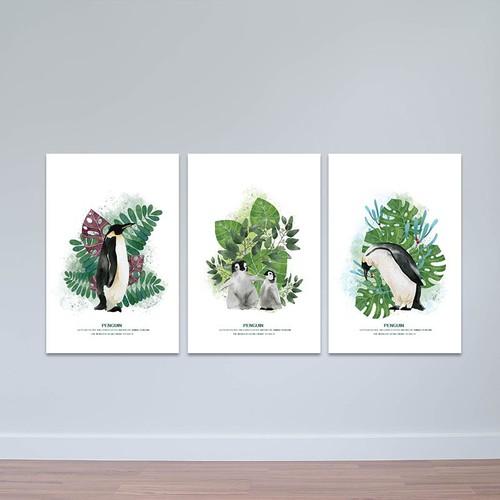 """Bộ 3 tranh treo tường phòng khách """"những chú chim cánh cụt""""   tranh trang trí hiện đại w3462"""