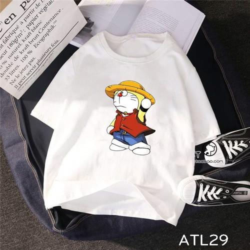 ATL29 Áo thun teen tay lỡ UNISEX hình doraemon Luffy mũ rơm