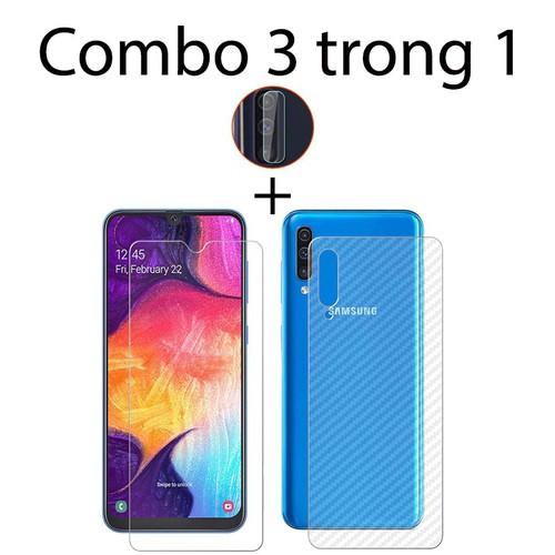 Combo kính cường lực Samsung A50, 2 miếng dán carbon mặt sau và 2 miếng dán camera
