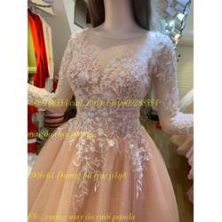 áo cưới ngắn tay dài ren hồng