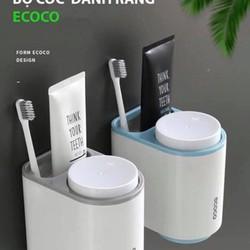 BỘ CỐC NHÀ TẮM  Bộ giá đựng bàn chải kèm 2 ly đánh răng ecoco