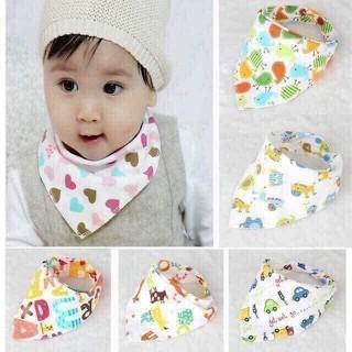 Sét 10 chiếc khăn yếm cotton hai lớp cúc bấm cho bé - D45 thumbnail