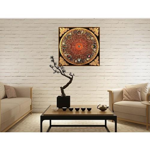 Tranh đèn om mani padme hum mandala với biểu tượng kiết tường tpm008
