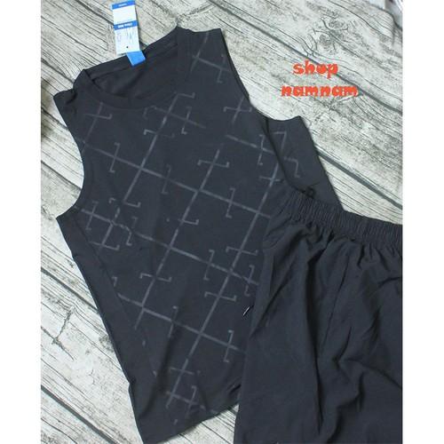 Bộ quần áo thể thao nam ba lỗ màu đen