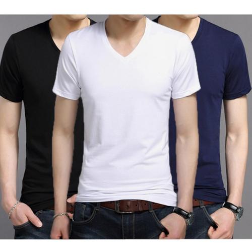 Bộ 3 áo thun nam body cổ tim 206377 - trắng,đen,xanh - không thể rẻ hơn
