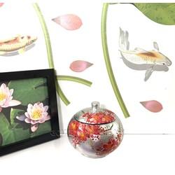 Hũ Sơn Mài Tròn Φ11cm - Vẽ hoa đào đỏ & nền bạc