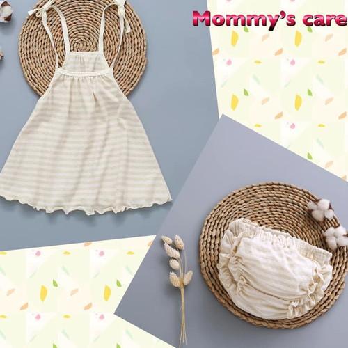 Áo yếm cotton hữu cơ bé gái