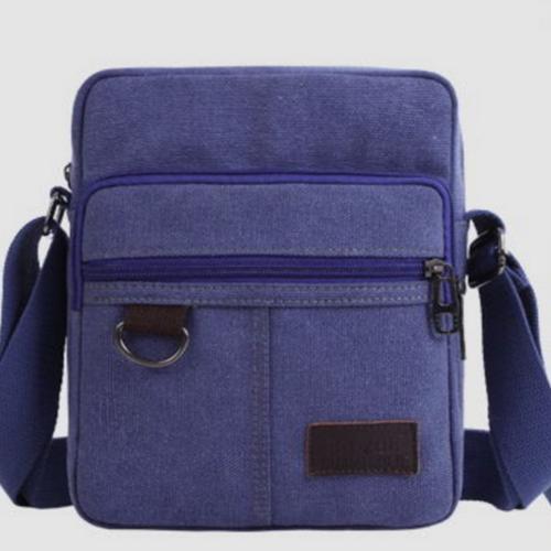 Túi đeo chéo canvas phối da đồ da thành long tlg 208109-3   xanh lam