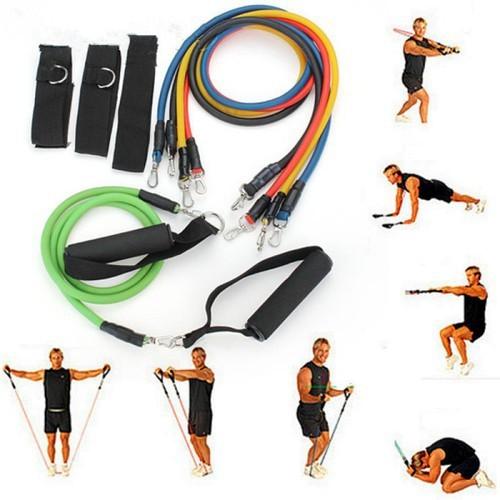 Bộ 5 dây đàn hồi tập gym cao cấp i dây tập gym i dây tập thể hình
