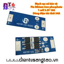 Mạch sạc xả bảo vệ Pin lithium iron phosphate 1 cell 3.2V 34A