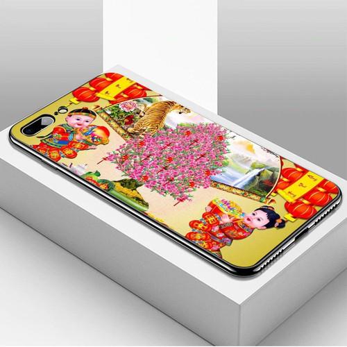 Ốp lưng điện thoại iphone 7 plus  -  8 plus - tranh mai đào ms mdao004