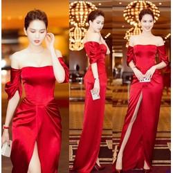 Đầm Dạ Hội Đỏ Vai Ngang Xẻ Trước Sang Trọng