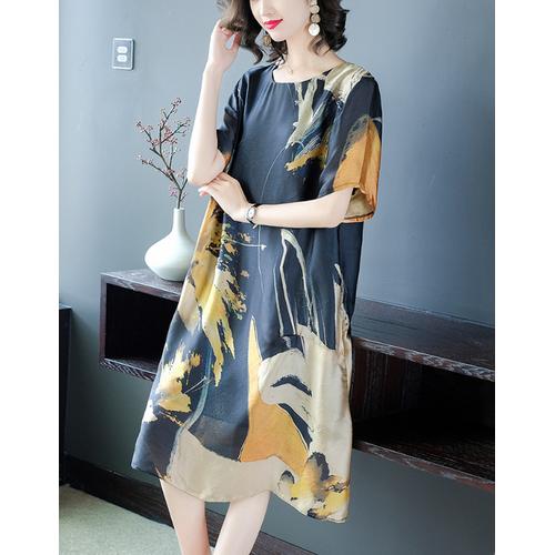 Đầm suông in họa tiết - hr1636