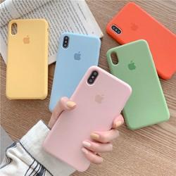 ốp lưng iphone chống bẩn mịn màu trơn có logo apple ốp iphone 6 6s 7 8 plus x xs xr xs max