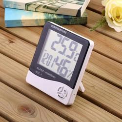 Ẩm kế điện tử  đo nhiệt độ độ ẩm trong phòng, kiêm đồng hồ báo thức