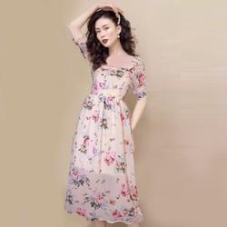 [SIÊU SALE] Đầm voan hoa chiffon Hồng 2 lớp size L, XL , 45-65kg  thiết kế cao cấp