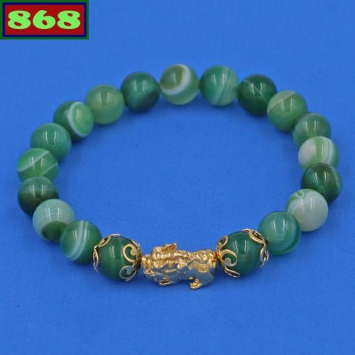 Chuỗi đeo tay thạch anh xanh lá sọc 8 ly tỳ hưu inox vàng vtaxlsthhkv8