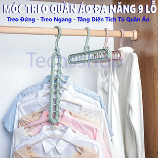 Móc treo quần áo đa năng 9 lỗ - Móc treo áo quần - móc nhựa treo quần áo - móc phơi áo quần - MTQA9L thumbnail