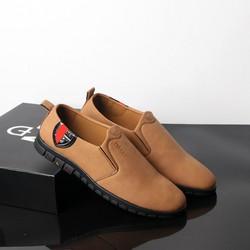 Giày lười nam màu da bò đế cao su đen siêu bền, thời trang TS429 Tronshop