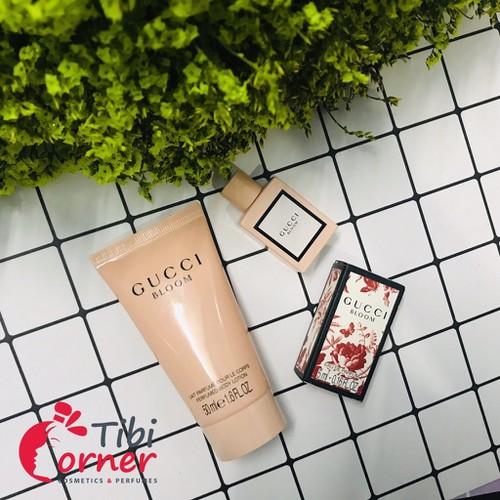 [Set gucci boom]bộ dưỡng thể 50ml và nước hoa gucci bloom 5ml chính hãng nhập từ pháp