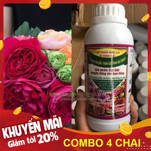 Bộ 4 chai - chế phẩm dưỡng hoa nở to, ra rễ khỏe cho hoa hồng - chai 500ml