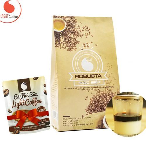 Cafe nguyên chất light coffee loại đặc biệt vị đậm, đắng mạnh gói 500g - tặng kèm cà phê sữa light coffee gói 50g