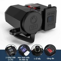 Sạc điện thoại gắn xe máy 3 trong 1 sạc nhanh 2.1A có lỗ tẩu và màn hình báo, chống nước an toàn khi sử dụng