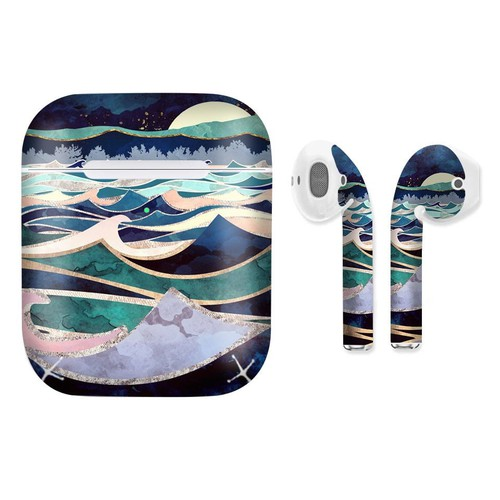 Miếng dán skin cho airpods in hình ánh trăng trên biển giả sơn mài - gsm161