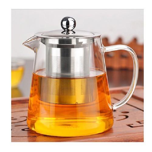 Ấm pha trà thủy tinh nắp inox có lõi lọc 550ml